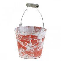 Decorative bucket heart decor, metal vessel, Valentine's Day, handle bucket Ø12cm