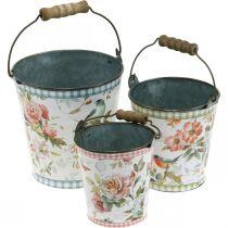 Metal bucket vintage look, spring decoration, plant bucket, metal decoration H15 / 11 / 9.5cm set of 3