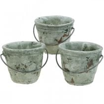 Bucket for planting, ceramic vessel, bucket decoration, antique optics Ø11.5cm H10.5cm 3pcs