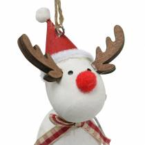 Christmas figures angel and reindeer to hang white, red Ø4.7cm H20 / 18cm 2pcs