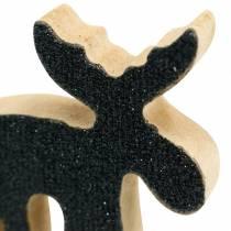 Christmas sprinkle decoration moose wood black glitter 5 × 5.5cm 12pcs