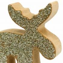 Scattered Christmas elk wood golden, glitter 5 × 5.5cm 12pcs