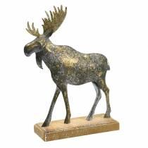 Christmas figure moose golden antique look metal 21 × 14.5cm