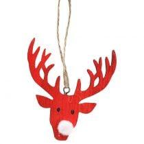 Hanging Decoration Reindeer Red, white 6,5cm x 7,5cm 8pcs
