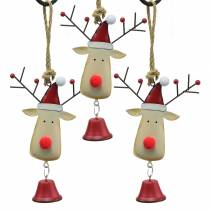Christmas pendant elk head with bell 11.5cm red, beige 3pcs