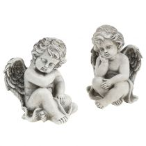 Decorative angel in gray sitting 13.5cm 2pcs