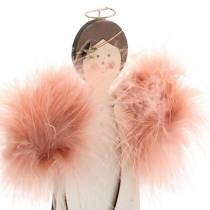 Angel with feather wings pink 28cm wood