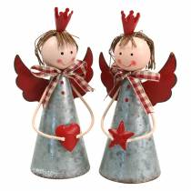 Decorative angel with crown metal silver, red Ø7.5 H13.5cm 2pcs