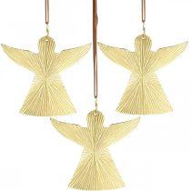 Decorative angel, metal pendant, Christmas decoration golden 9 × 10cm 3pcs