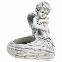 Grave decorations Tealight holder angel 10cm 2pcs