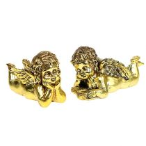 Angel with book lying gold 11-13cm 4pcs