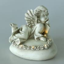 Decorative angel on heart with LED 16cm 19cm H14.5cm