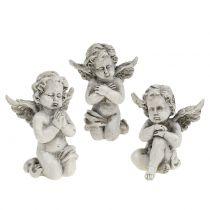 Angel figures gray 9cm 3pcs