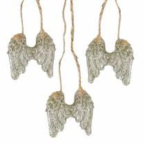 Angel wings to hang in gold glitter 5cm × 5.2cm 12pcs