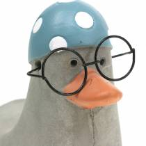 Decorative duck with glasses and swimming cap gray 10.5cm 4pcs