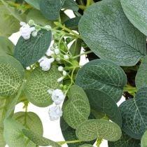 Decorative wreath eucalyptus green white flowers artificial Ø45cm