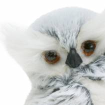 Deco owl white with fur and feathers 21cm