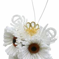 Decorative owl with crown to hang white, glitter 6.5 × 8cm 6pcs.