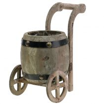 Wooden barrel on stand for planting H24,5cm