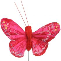 Feather butterfly orange-red 5cm 24pcs