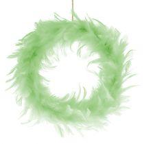Feather Wreath Light Green Ø20cm 3pcs
