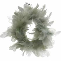 Decorative feather wreath gray Ø18cm Easter decoration real feathers