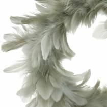 Easter decoration spring wreath gray Ø18cm Real feathers
