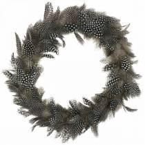 Feather wreath guinea fowl Real feathers Ø35cm Easter decoration Spring decoration