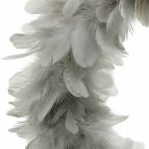 Easter decoration spring wreath large light gray Ø40cm spring decoration real feathers