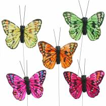 Mini butterfly on wire assorted colors 5.5cm 24pcs