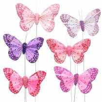 Feather butterfly on wire pink, purple 7cm 24pcs