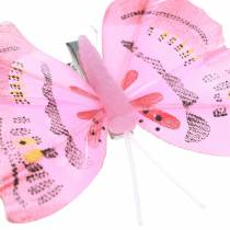Butterfly on clip pink 6cm 10 pieces