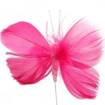 Feather butterflies pink / pink / red, decorative butterflies on a wire 6pcs