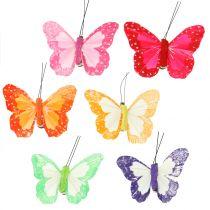 Feather butterflies on clip multicolored 7cm 12pcs