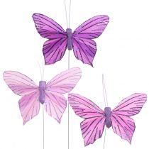 Feather Butterflies Purple 8,5cm 12pcs