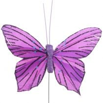 Feather Butterflies Purple 8,5cm 12pcs