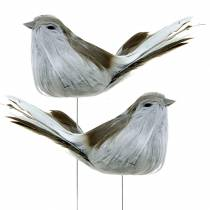 Feather bird on wire gray 12cm 4pcs