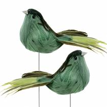 Feather bird on wire green 12cm 4pcs