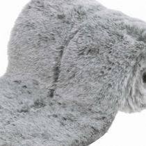 Decorative fur ribbon gray faux fur for handicrafts table decoration 15 × 150cm