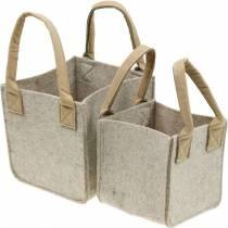 Felt planter, felt beige, felt basket with handles, felt decoration, set of 2
