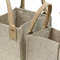 Felt planter, felt beige, felt basket with handles, felt decoration, set of 2