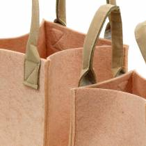 Felt planter pink felt bag with handles felt decoration set of 2