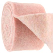 Felt tape, pot band bicolor white/pink 15cm 5m