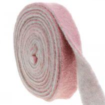 Pot hinge, deco tape wool felt dusky pink / gray W4.5cm L5m