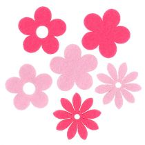 Felt flower pink, pink 3.5cm 96pcs