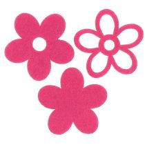 Felt flower for sprinkling Pink as decoration set Ø4cm 72pcs