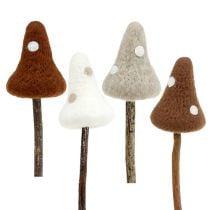 Felt mushrooms toadsticks brown sort. 30cm 4pcs