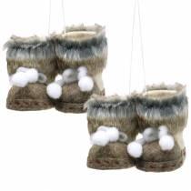 Christmas Tree Ornaments Felt shoe pair with fur 10cm x 8cm 2pcs