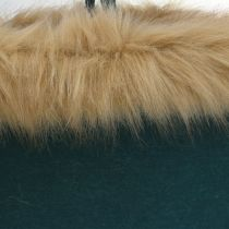 Felt bag with fur edge green 38cm x 24cm x 20cm