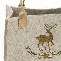 Natural felt bag with deer motif 2-set
